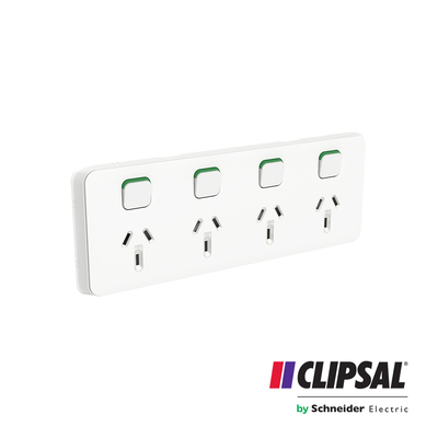 Quad Switch Socket Outlet, Horizontal Mount