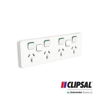 Quad Switch Socket Outlet, Horizontal Mount, 250V, 10A with 2 Removable Extra Switch Apertures