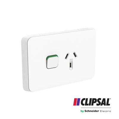 Single Switch Socket Outlet, Horizontal Mount, 250V, 10A