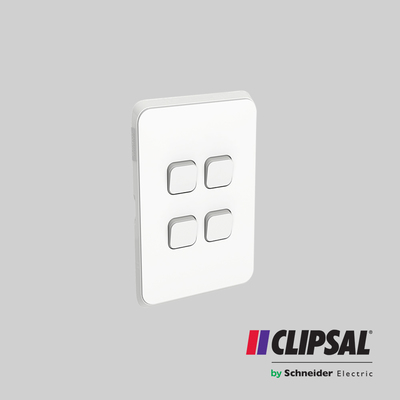 Flush Switch, 4 Gang, Vertical Mount, 1-Way/2-Way, 250V, 10AX