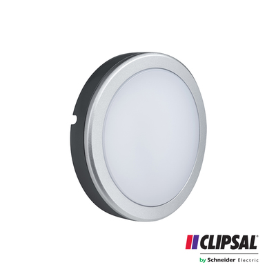 20W Clipsal LED Bulkhead Round |4000K | IP54 Grey Body Outdoor Wall Lamp