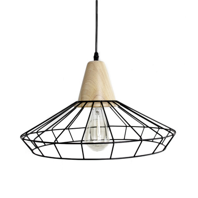 Industrial Loft Metal Wire Cage Pendant Light | Wooden Block Art Ceiling Lights