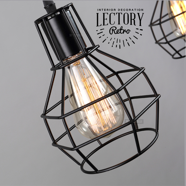 Vintage Pendant Lamp - Cage Set | w/ Edison Bulb 40W | Industrial Loft Light