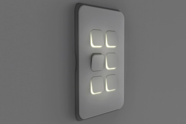 Flush Switch, 2 Gang, Veritcal Mount,1-Way/2-Way, 250V, 10AX, LED