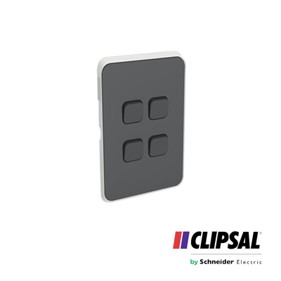Skin Switch Plate Cover, 4 Gang, Vertical/Horizontal Mount, Anthracite