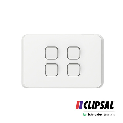 Flush Switch, 4 Gang, Horizontal Mount, 1-Way/2-Way, 250V, 10AX