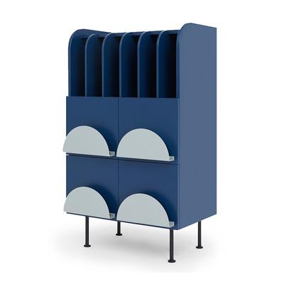 Scandinavian Full Moon Storage Book Cabinet | Navy Blue