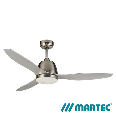 Elite AC Ceiling Fan | Brushed Nickel Motor | Tri Colour Dimmable Lamp | 1.3M Silver Blade