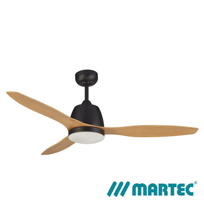 Elite AC Ceiling Fan | Matt Black Motor | Tri Colour Dimmable Lamp | 1.3M Bamboo Blade