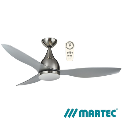 Vantage DC Ceiling Fan | Brushed Nickel Motor | Tri Colour Dimmable Lamp | 1.3M Silver Blade