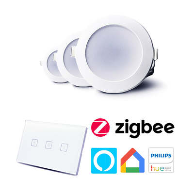 Smart LED Downlight Bundle | Wall Mount Dimmer Switch | App & Voice Control Through Smart Hubs