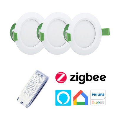 Clipsal 9W Dimmable Downlight Kit Bundle | 10 Downlights + Zigbee Inceiling Dimmer