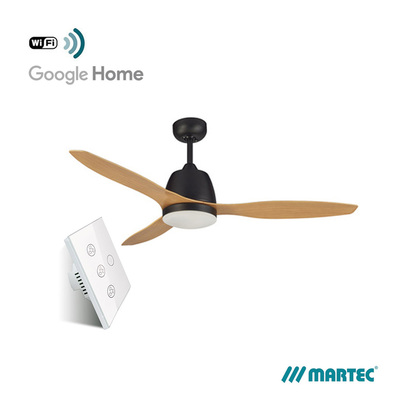 AC Ceiling Fan | WIFI Smart Control Bundle | Elite 1.3M 3 Blade | With Lamp | Matt Black Motor | Bamboo